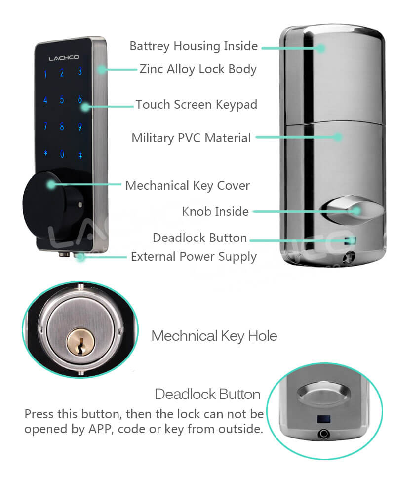 SL HS8055 11 - Bluetooth Smart Electronic Door Lock With Deadbolt for Apartments