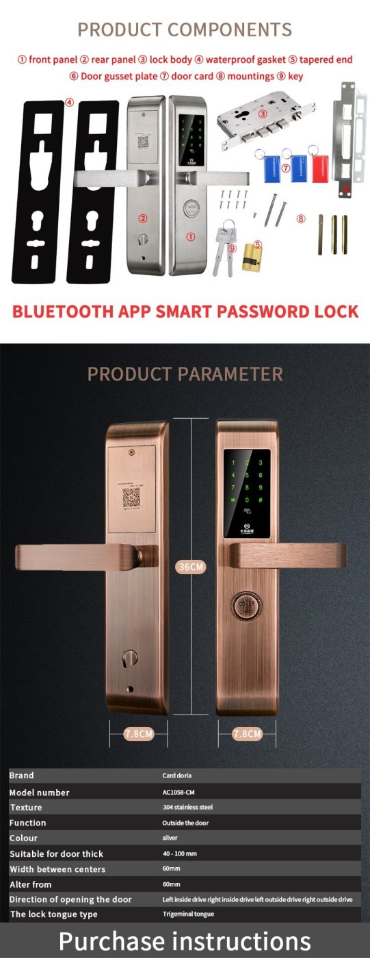resize,m fill,w 541,h 1410# - Bluetooth Keyless Door Lock With Mobile App For Entry Door SL-B1058