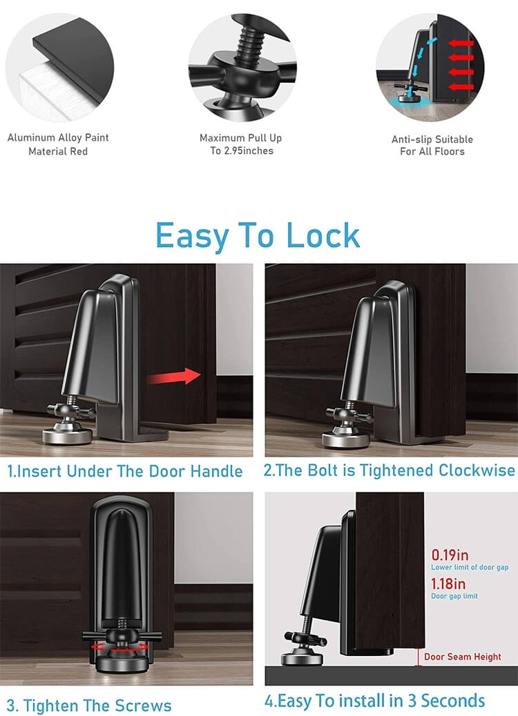 1626661223 Portable Door Stopper Brace For Hotel Bedroom Home Bar HS D05 6 - Portable Door Stopper Brace For Hotel Room Safe and Security HS-D05