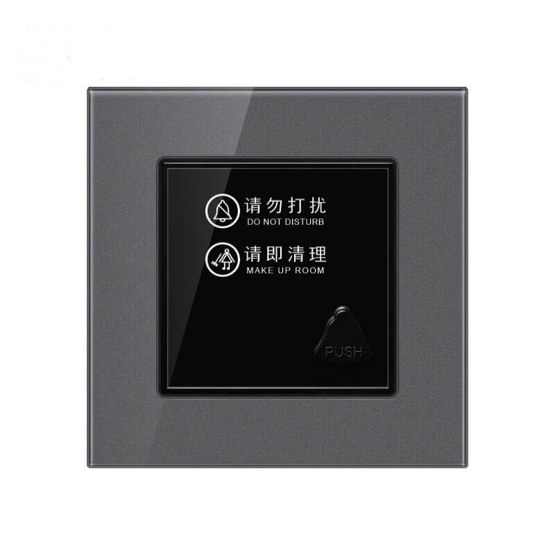 1626666048 Tempered Glass Panel Hotel Door Sign Plate with Doorbell Please Clean ES K83 3 - Hotel Electronic DND Sign Plate With Doorbell For Hotel Room Door ES-K83