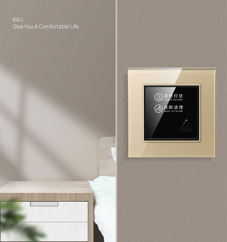1626673006 Tempered Glass Panel Hotel Door Sign Plate with Doorbell Please Clean ES K83 9 - Hotel Electronic DND Sign Plate With Doorbell For Hotel Room Door ES-K83